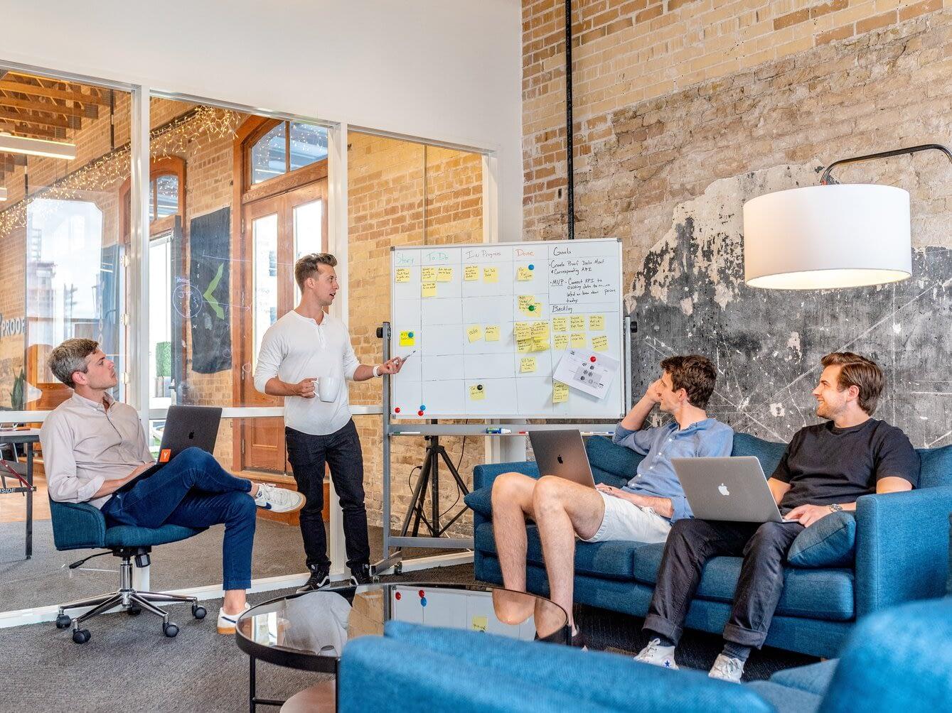 marketing team in a pitch