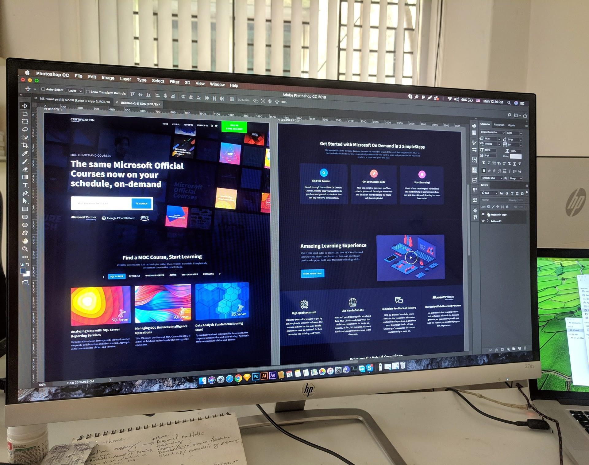 web design on a mac computer